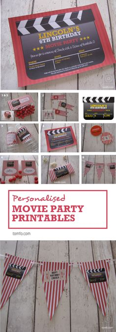 Personalised movie Party printables... Add your childs name and party details to...chocolate wrappers, invitations, drink bottle wrappers, bunting, party favours, mini flags and cake toppers. Perfect for a DIY movie party!