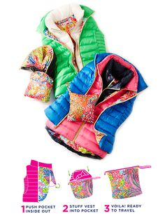 Lilly Pulitzer Allie Packable Puffer Vest- literally folds itself into a printed travel bag... amazing.