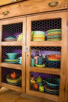fiestaware collection.. like the chicken wire cabinets for displaying, would leave back of cabinet neutral.