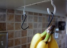 DIY banana hanger - a cup hook and a s hook. Brilliantly simple and cheap.