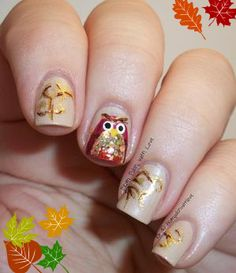 owl nails, fall nail, beauty trends, nail designs, nail arts, harvest owl, owls, halloween nail art, halloween nails