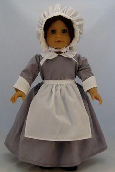 Pilgrim Dress for American Girl or other 18 inch Dolls. $32.00, via Etsy.
