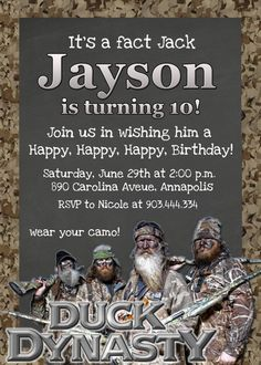 Duck Dynasty Birthday Party Invite | Party On.