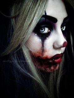 Scary joker clown makeup. Hot mess.