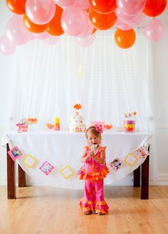 """Pink, Orange & Yellow with flowers / Birthday """"ALexa Cate's 2nd Birthday Party"""" 