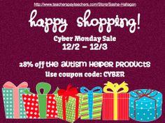 Cyber Monday Sale 12/2 - 12/3 {all Autism Helper Products are 28% off!) by theautismhelper.com