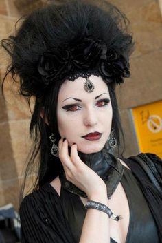 GOTH black rose, vampir, hair accessori, red eye