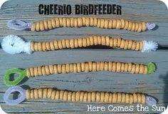 Simple Cheerio bird feeder - easy cub scout activity