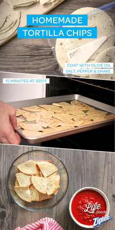 Need a party pleaser? Homemade tortilla chips are easy, delicious, and only 4 ingredients! Season in a Ziploc® bag, toss in the oven, and enjoy.