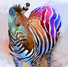 Zebra Dreams - watercolor by ©Galen Hazelhofer - http://fineartamerica.com/featured/1-zebra-dreams-galen-hazelhofer.html