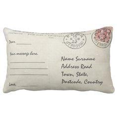Personalized postcard design throw pillow