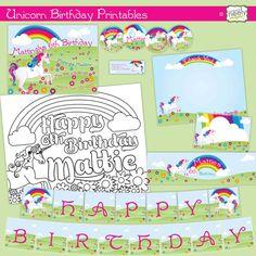 Unicorn DIY Printables Party Set by bndesigns on Etsy  #invitations #invites #partyfavors