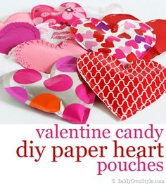 Fill these DIY Valentine hearts with candy or little surprise gifts, then sew or staple them closed!   <3
