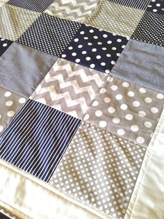 Baby Quilt in modern navy and grey