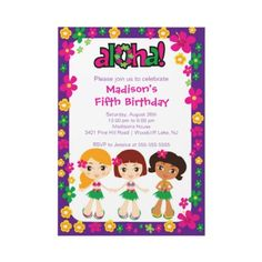 Little Luau Party Birthday Invitation Purple Pink from http://www.zazzle.com/luau+birthday+invitations