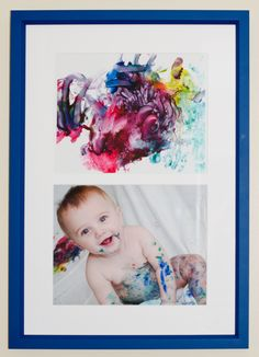 """Framed child's first masterpiece with """"in action"""" photo (2 8x10s)."""