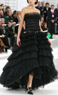 Chanel. Gorgeous black tiered tulle gown.