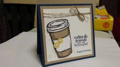 Perfect blend 10 x 10cm gift card. Used gorgeous grunge to give the coffee spill splats. Stampin up birthday card. ~ Stamp with Rachel ~