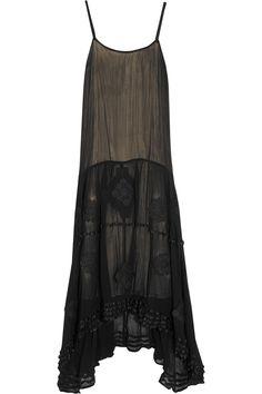 Alice + Olivia Dejas embroidered chiffon midi dress