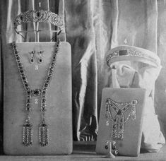 Youssoupoff jewels being displayed after their discovery in 1925 in Moscow