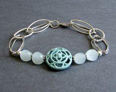 Dawn Bracelet - Pale Aqua Blue Agate and Silver Plated Bracelet with Enamel Coated Metal Medallion