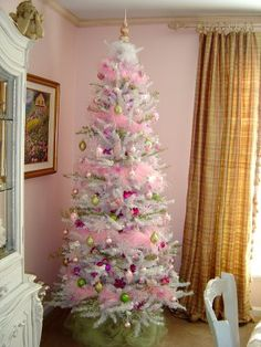 white, pink, gold Christmas tree