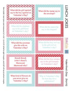 Printable Valentine lunchbox jokes