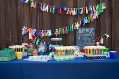 Primary color first birthday party. #party
