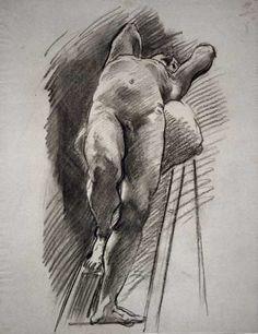 John Singer Sargent's Male Nude Leaning Back on a Ladder
