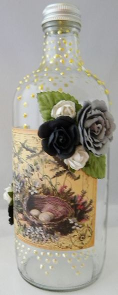 Lovely altered bottle - from Prima and KaiserCraft ♥