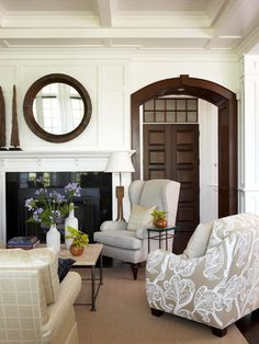 mix of wood trim with painted white trim.