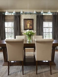 dining rooms, wood blinds, dine room, chairs, windows, window treatments, roman shades, dining room design, vintage linen
