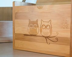 Wooden Recipe Box with Adorable Owls. $65.00, via Etsy. LOVE IT!