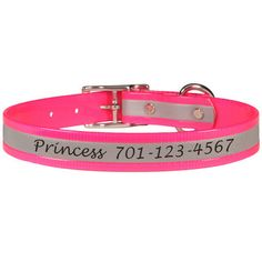Just because your dog is a princess doesn't mean she shouldn't be safe! Engraved Reflective Personalized Dog Collars - $29 at www.dogids.com