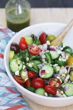 summer salad with corn and tomatoes.