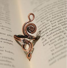 wire ring jewelrycopper ringadjustable wire wrapped by BeyhanAkman, $18.00