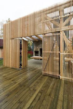 *modern architecture, wooden slats, wall dividers* - The Arbor