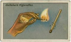 """The familiar difficulty of lighting a match in a wind can be to a great extent overcome if thin shavings are first cut on the match towards its striking end, as shown in the picture. On lighting the match the curled strips catch fire at once; the flame is stronger and has a better chance."""