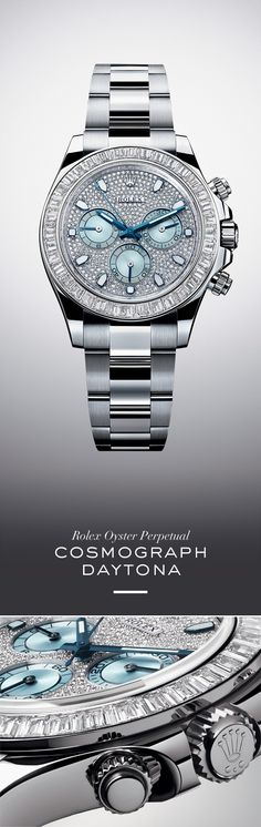 The new Rolex Cosmograph Daytona 40 mm in 950 platinum with diamond-set bezel, a diamond-paved ice blue dial and Oyster bracelet. #RolexOfficial #Baselworld