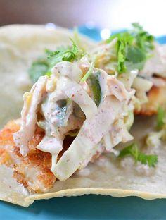Crispy Fish Tacos with Spicy Slaw garlic slaw recipes, spicy slaw recipe, crispi fish, whiting fish recipes, spici slaw, cod fish tacos, cod tacos, fish taco slaw, fish tacos with spicy slaw