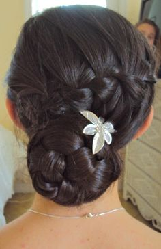 Waterfall braid into a braided bun