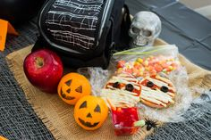 Don't let those Halloween party leftovers go to waste. Pack up small servings for a ghoulish lunch the next day!