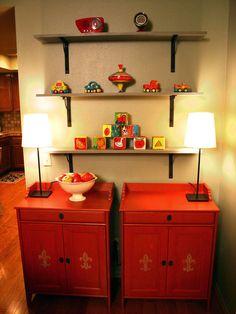 light walls, red furniture