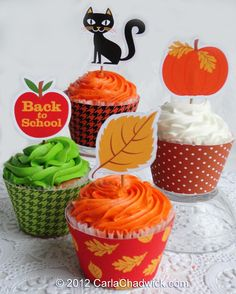 Printable Fall Cupcake Toppers and Wrappers