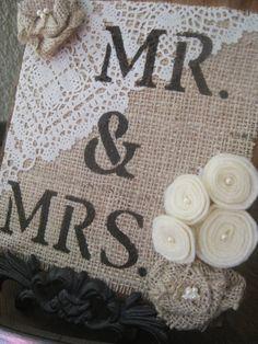Mr & Mrs Barnwood Burlap and Lace Sign by restorationandlace, $20.00