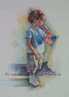 Child Holding an American Flag | Watercolor Portrait by Kristina Laurendi Havens