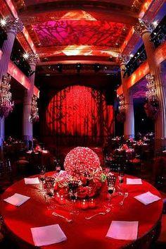 Stunning red reception lighting ideas