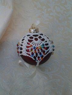 Beaded Pineapple Thread Crochet Christmas Ornament