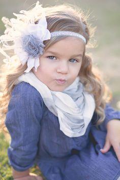 Grey and white headband baby headband baby bow by PrettyPetalsHair