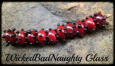 Red And Black Dot Lampwork Glass Set of 10 by wickedbadnaughty
